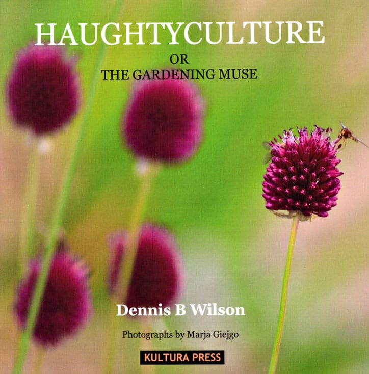 This photo shows the front cover of 'Haughtyculture or the Gardening Muse' - A collection of rhyming poetry by Dennis B. Wilson
