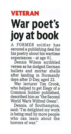 Dennis Wilson appears in The Mirror Newspaper: 'War poet's joy at book'
