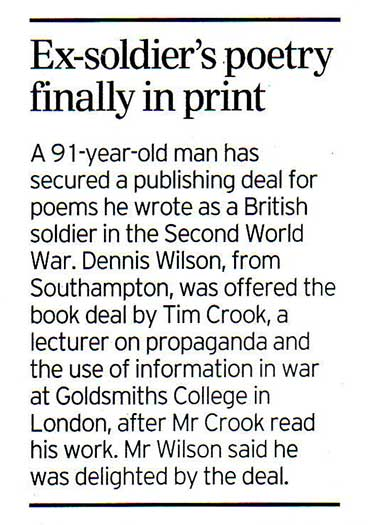 Ex-soldier's poetry finally in print.